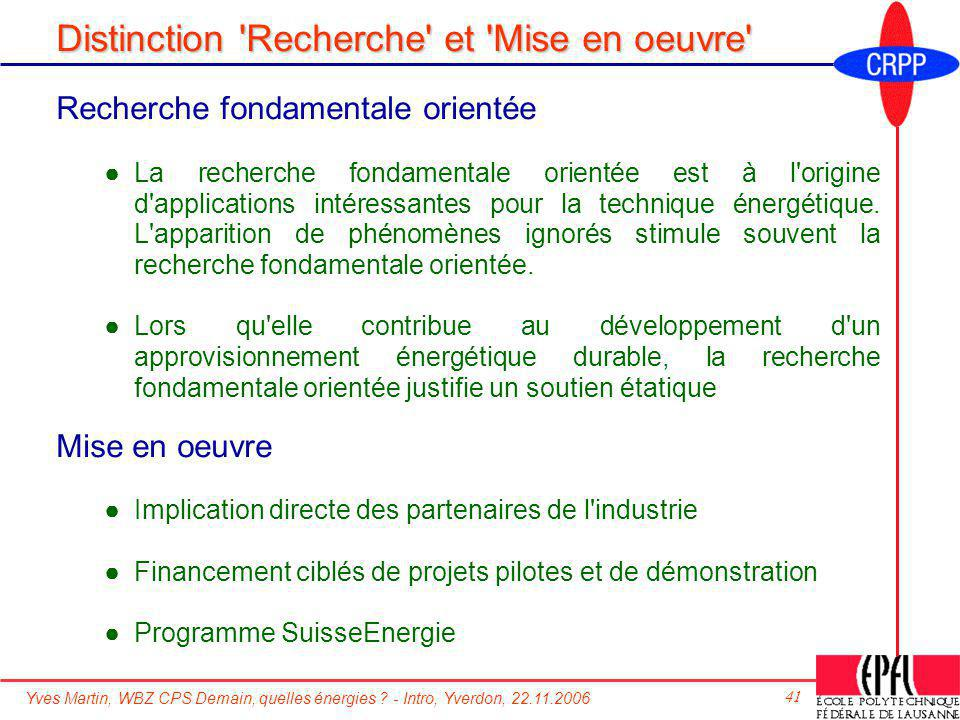 Distinction Recherche et Mise en oeuvre