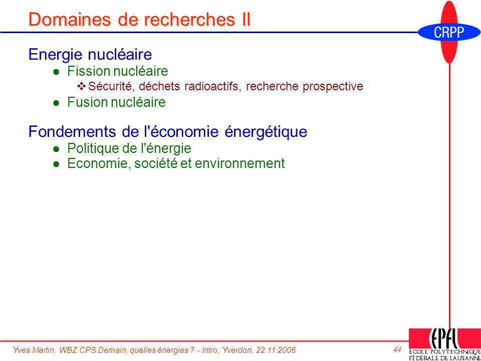 Domaines de recherches II