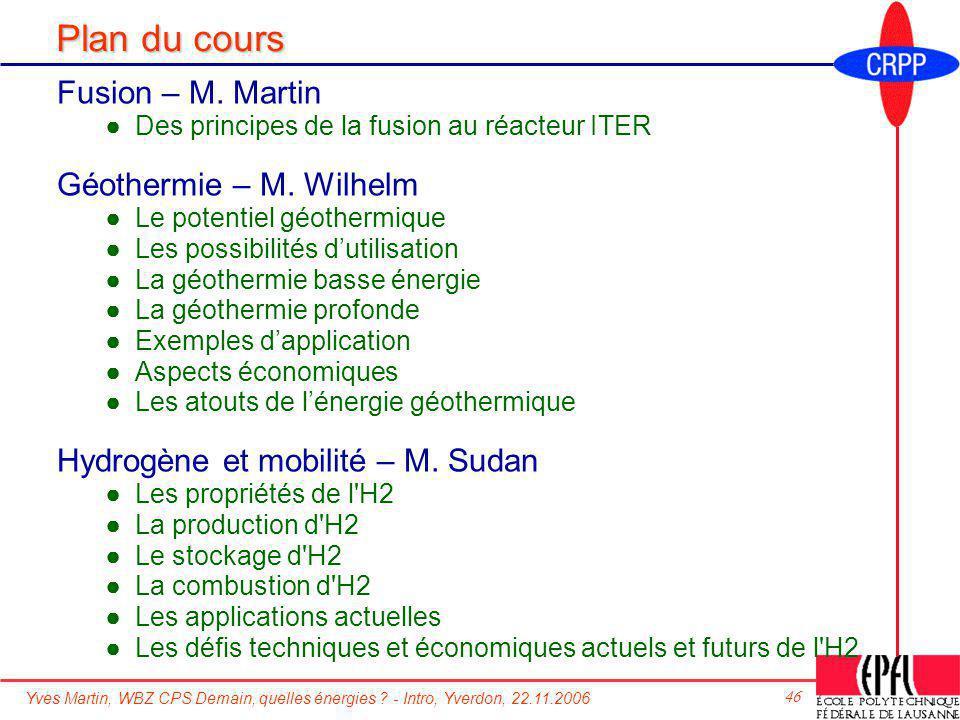 Plan du cours Fusion – M. Martin Géothermie – M. Wilhelm