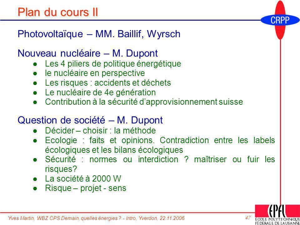 Plan du cours II Photovoltaïque – MM. Baillif, Wyrsch