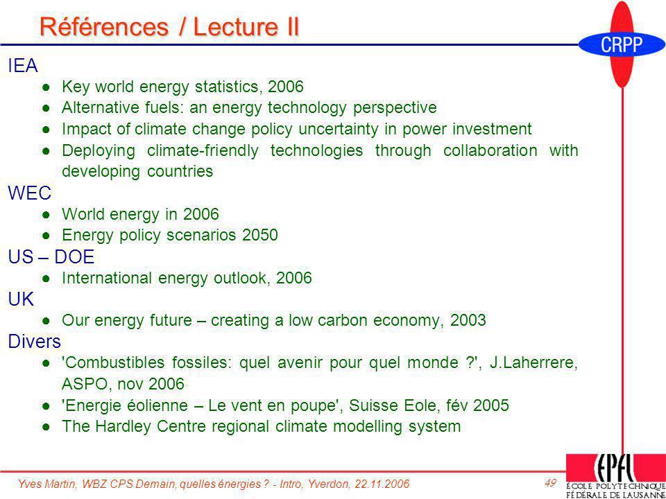 Références / Lecture II