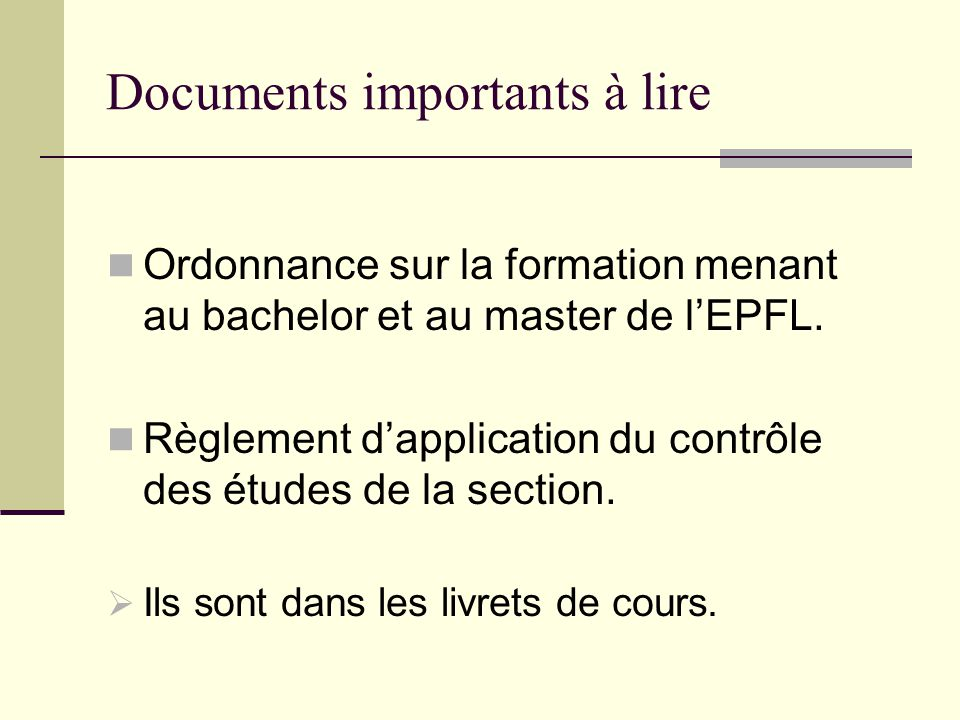 Documents importants à lire