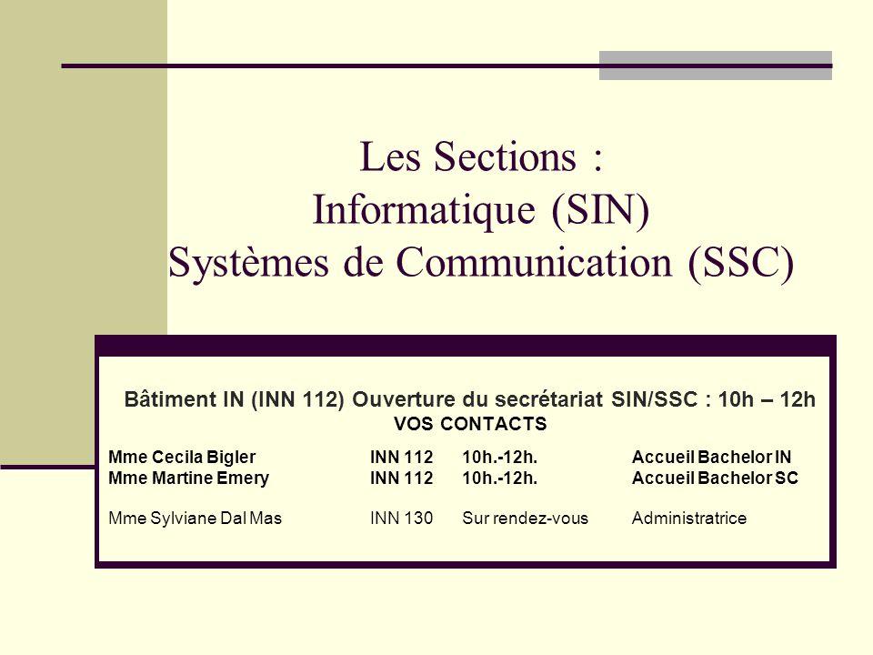 Les Sections : Informatique (SIN) Systèmes de Communication (SSC)