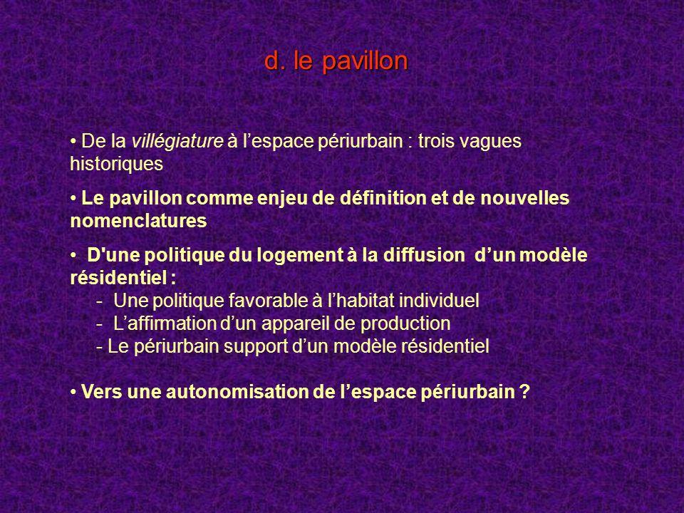 d. le pavillon De la villégiature à l'espace périurbain : trois vagues historiques.
