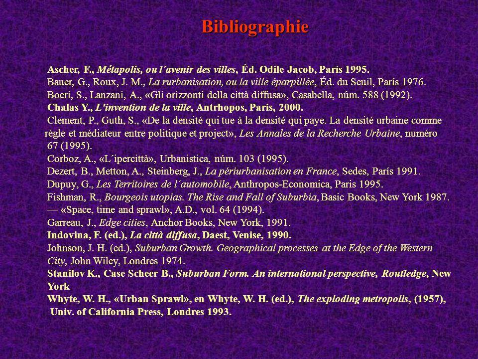 Bibliographie Ascher, F., Métapolis, ou l´avenir des villes, Éd. Odile Jacob, París 1995.