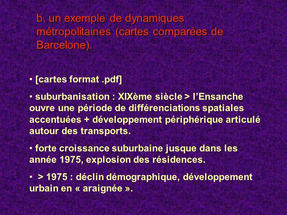 b. un exemple de dynamiques métropolitaines (cartes comparées de Barcelone).