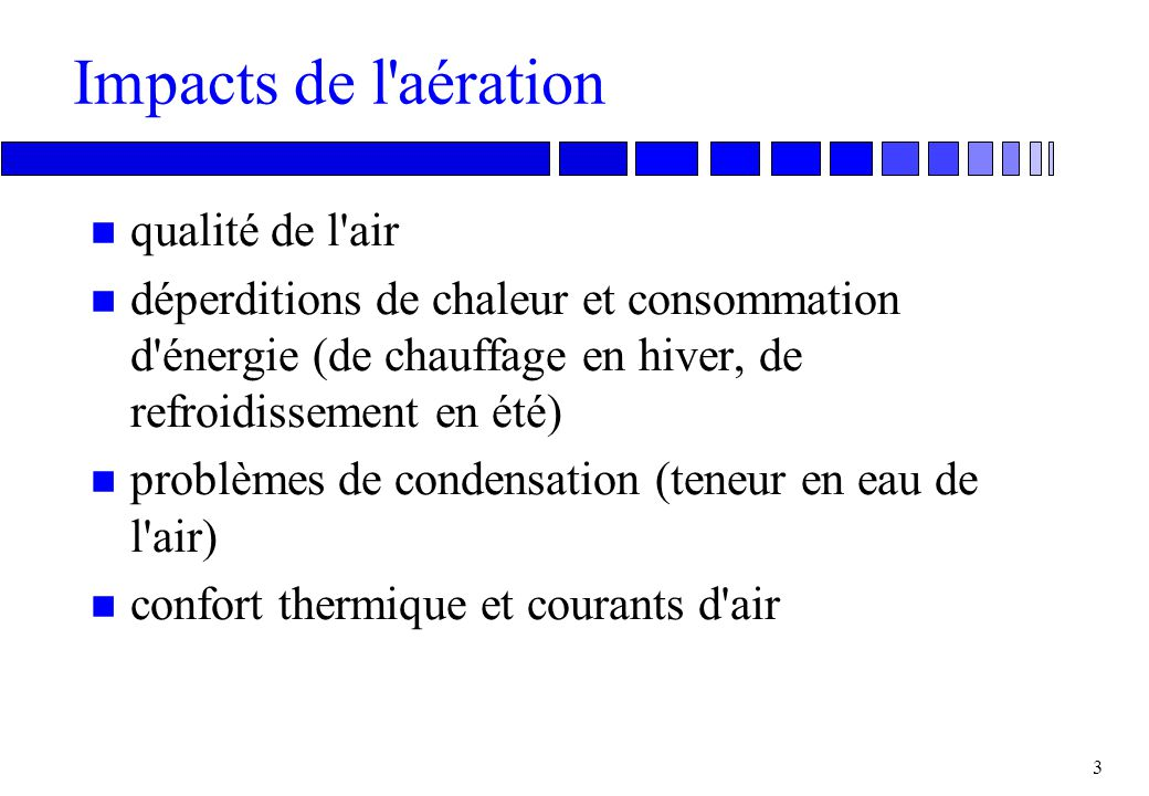 Impacts de l aération qualité de l air