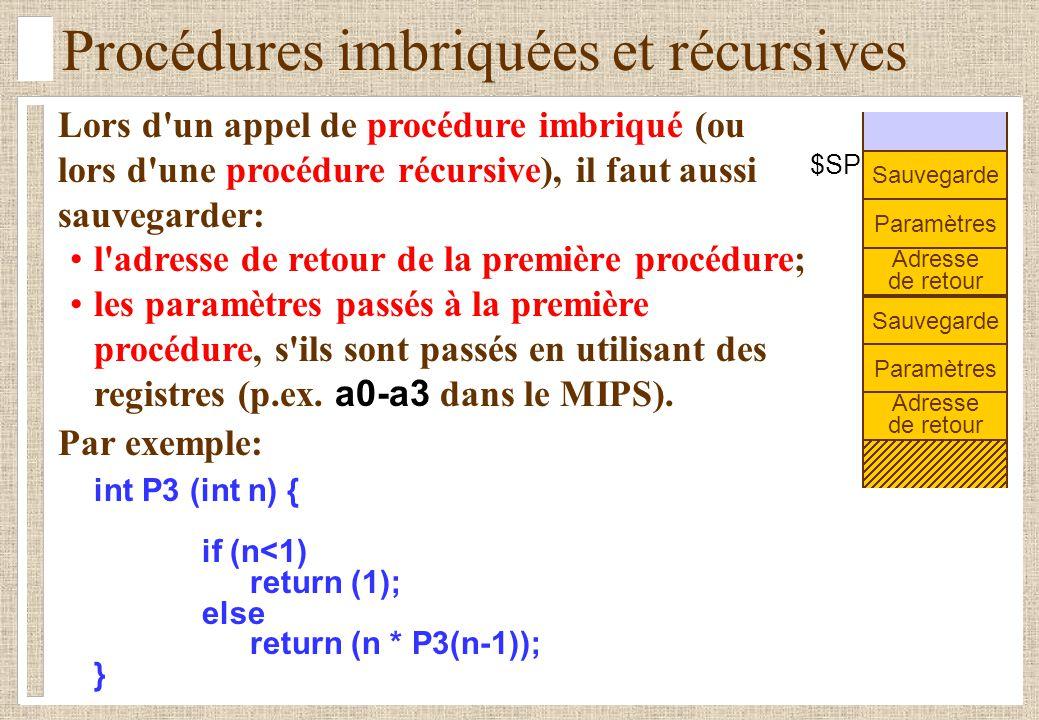 Procédures imbriquées et récursives