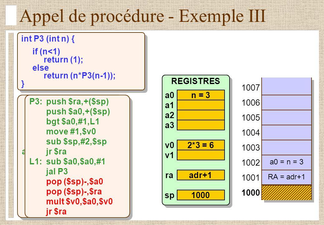 Appel de procédure - Exemple III