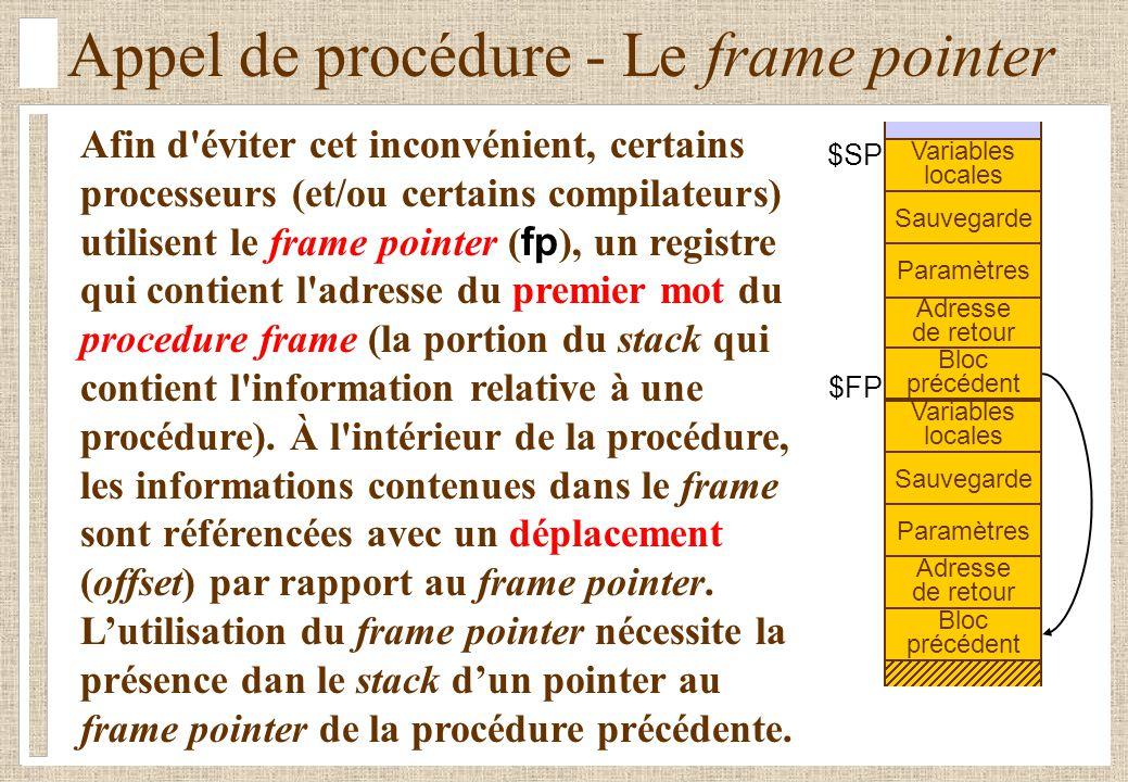 Appel de procédure - Le frame pointer