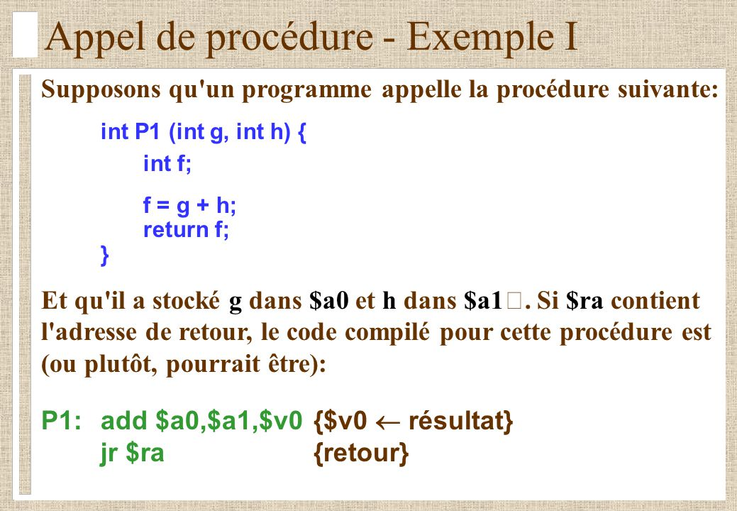 Appel de procédure - Exemple I