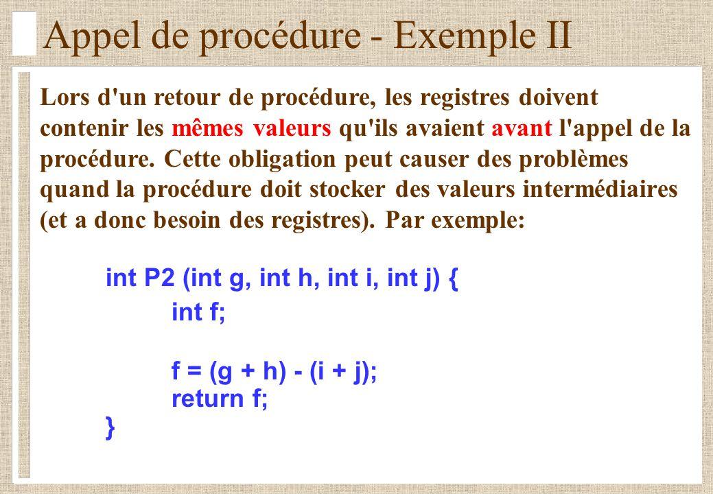 Appel de procédure - Exemple II