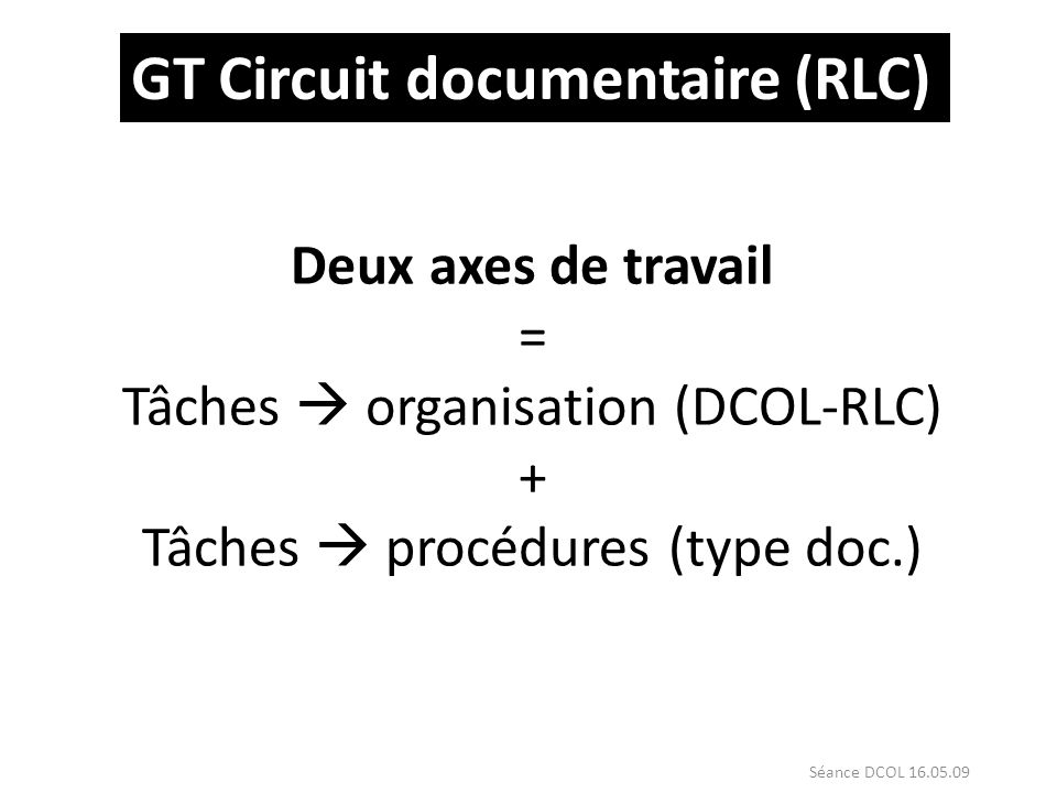GT Circuit documentaire (RLC)