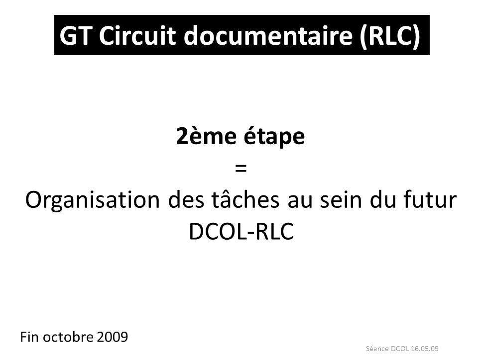 2ème étape = Organisation des tâches au sein du futur DCOL-RLC
