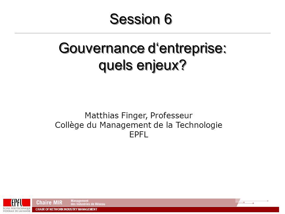 Gouvernance d'entreprise: quels enjeux