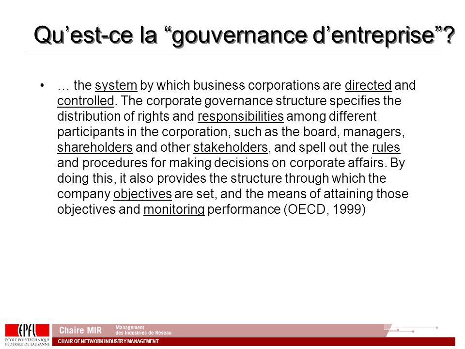 Qu'est-ce la gouvernance d'entreprise