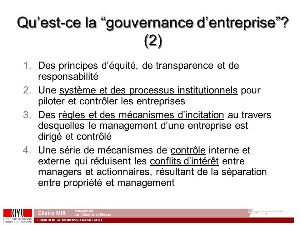 Qu'est-ce la gouvernance d'entreprise (2)