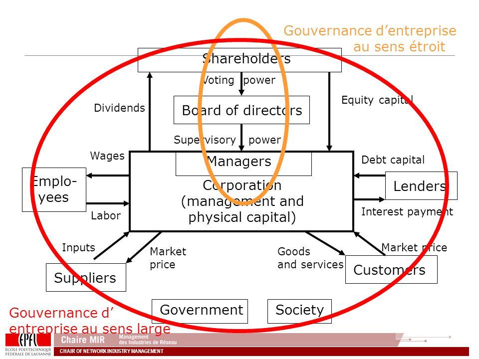 Gouvernance d'entreprise au sens étroit