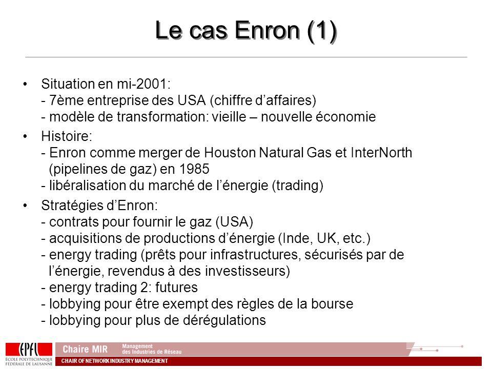 Le cas Enron (1) Situation en mi-2001: - 7ème entreprise des USA (chiffre d'affaires) - modèle de transformation: vieille – nouvelle économie.