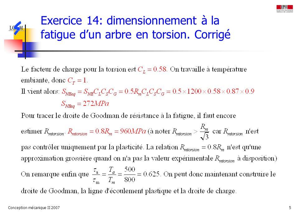 Exercice 14: dimensionnement à la fatigue d'un arbre en torsion