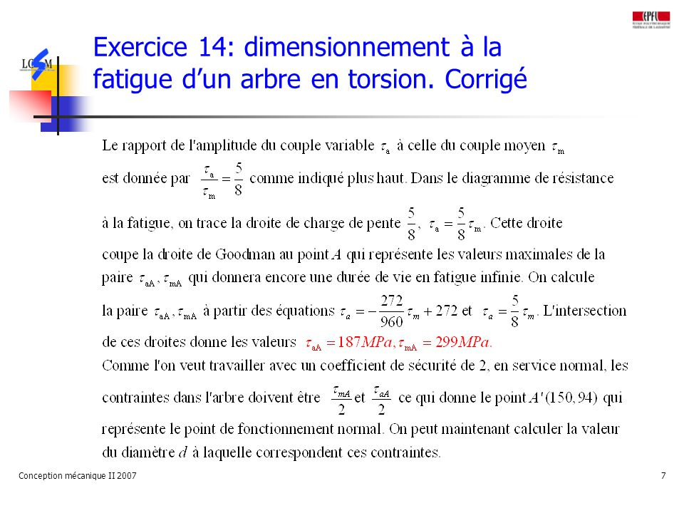 Exercice 14: dimensionnement à la fatigue d'un arbre en torsion