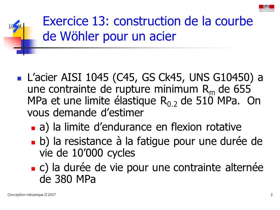 Exercice 13: construction de la courbe de Wöhler pour un acier