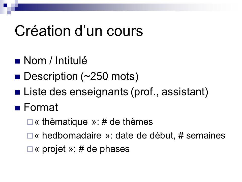 Création d'un cours Nom / Intitulé Description (~250 mots)