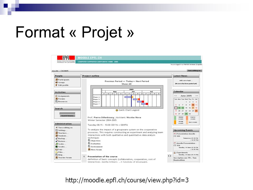 Format « Projet » http://moodle.epfl.ch/course/view.php id=3