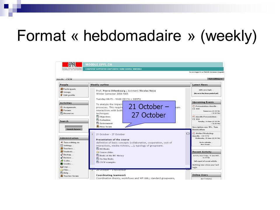 Format « hebdomadaire » (weekly)
