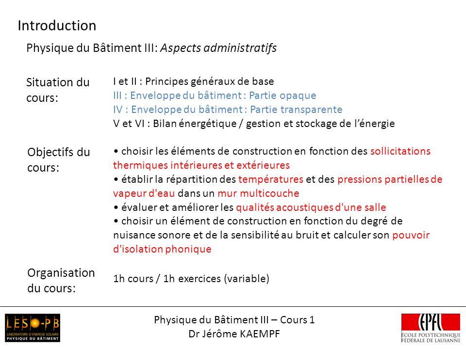 Physique du Bâtiment III – Cours 1