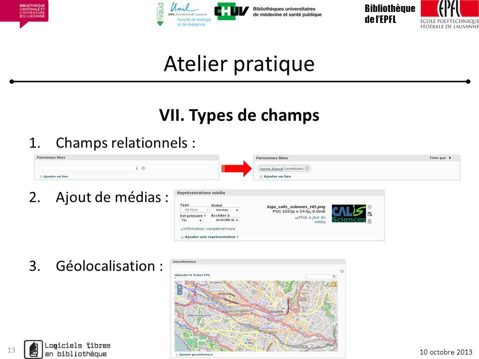 Atelier pratique Types de champs Champs relationnels :