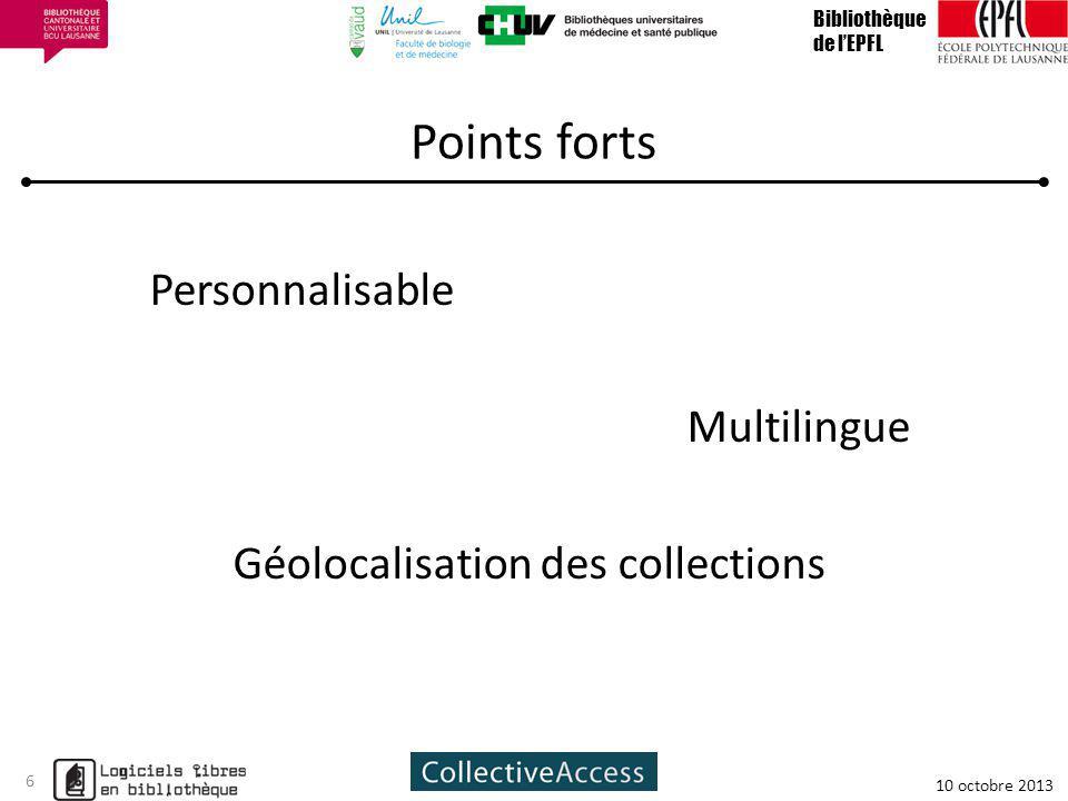 Bibliothèque de l'EPFL. Points forts. Personnalisable Multilingue Géolocalisation des collections