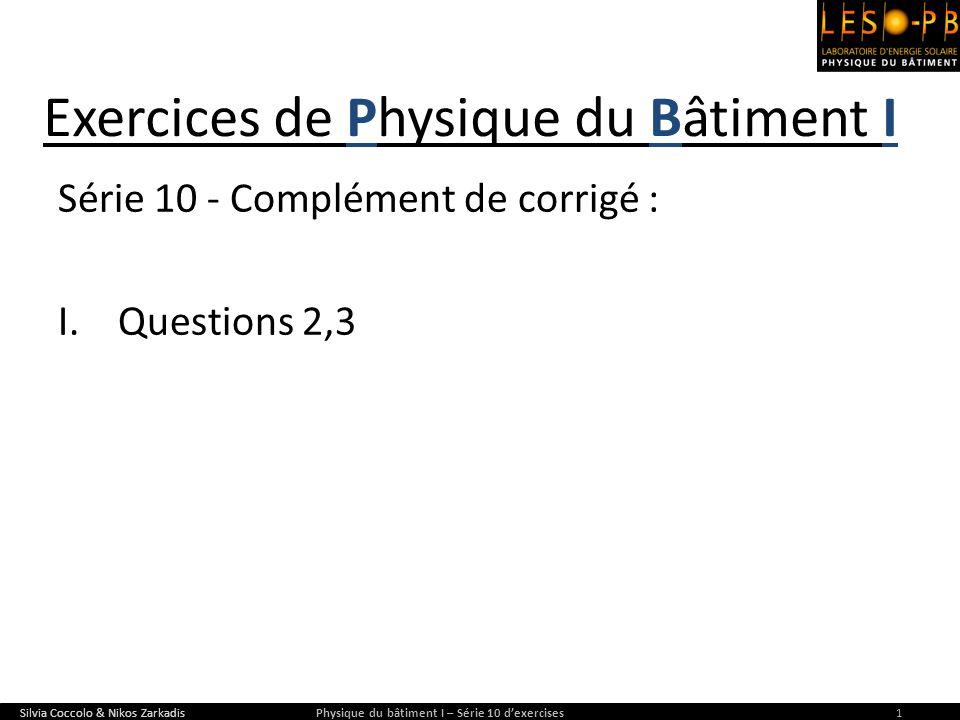 Exercices de Physique du Bâtiment I