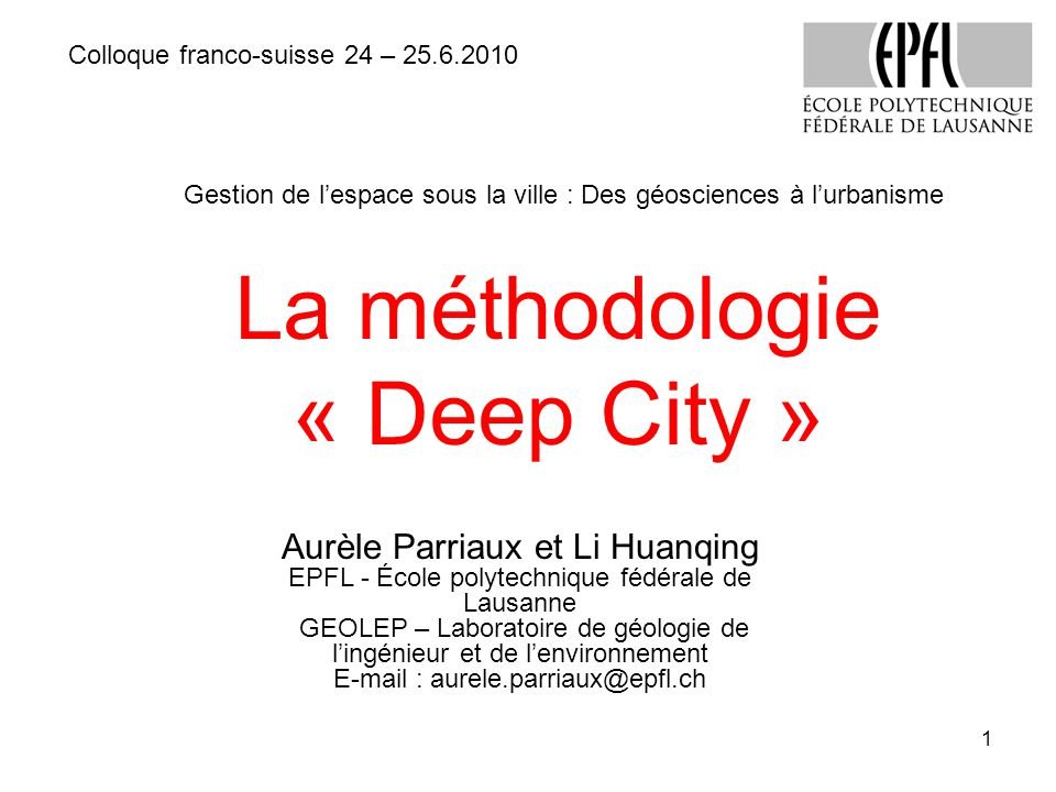 La méthodologie « Deep City »
