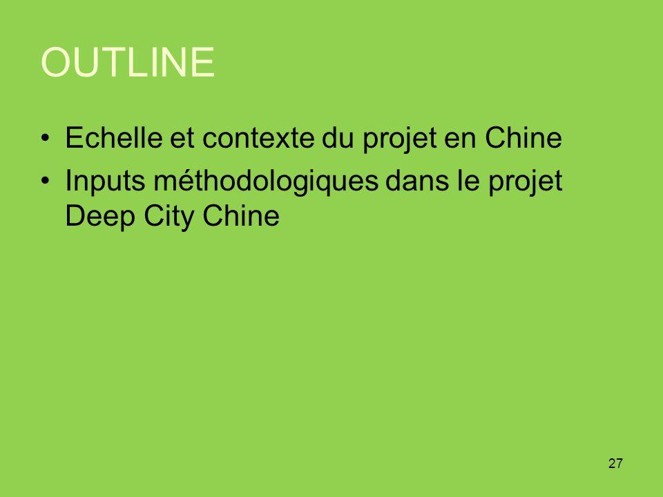 OUTLINE Echelle et contexte du projet en Chine