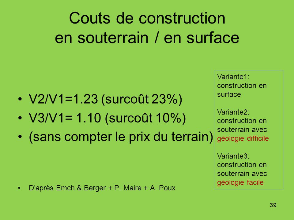 Couts de construction en souterrain / en surface