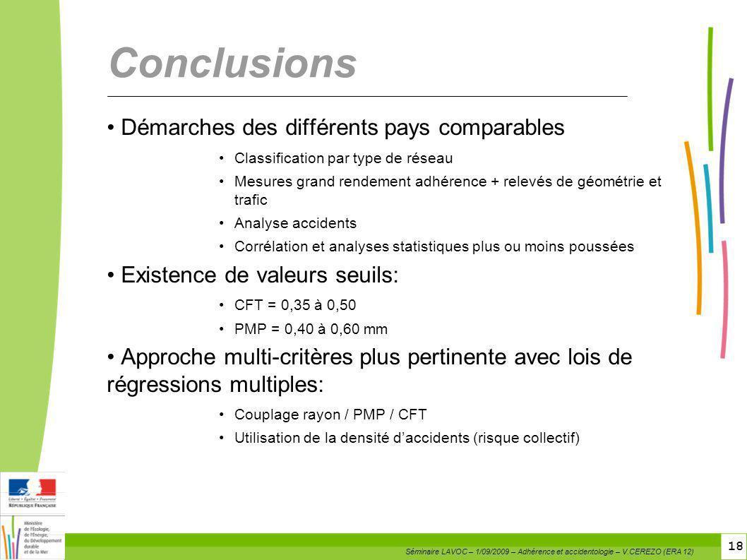 Conclusions Démarches des différents pays comparables