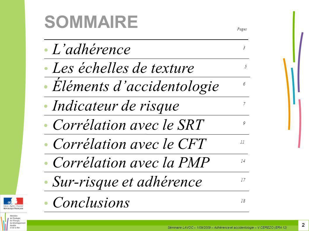 SOMMAIRE L'adhérence Les échelles de texture Éléments d'accidentologie