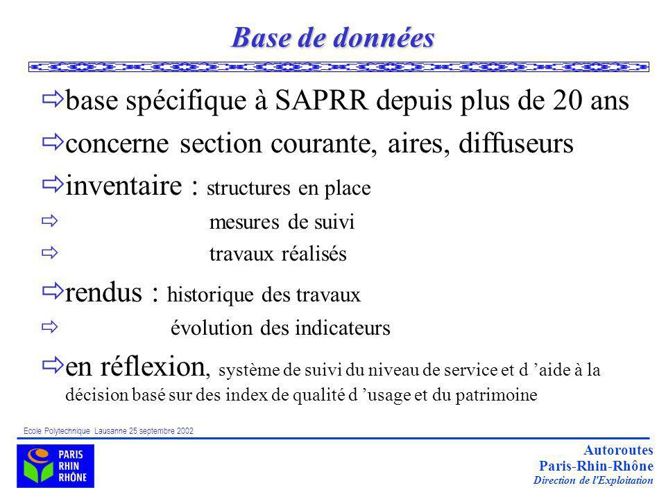base spécifique à SAPRR depuis plus de 20 ans