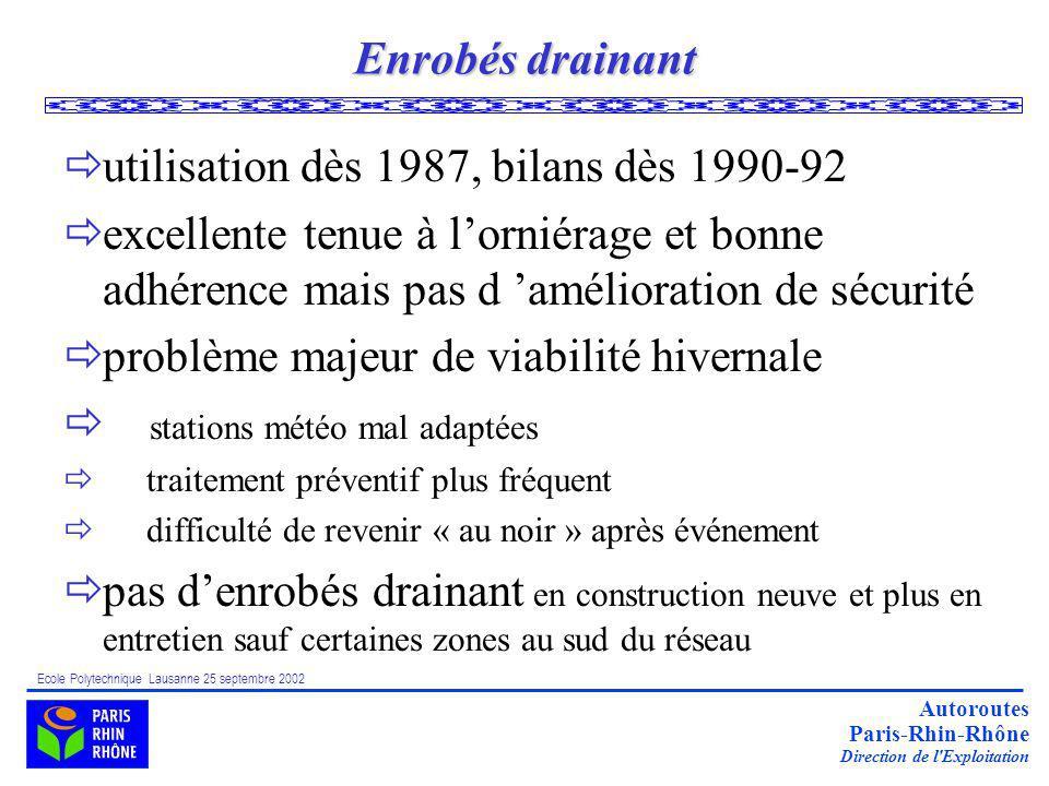 utilisation dès 1987, bilans dès 1990-92
