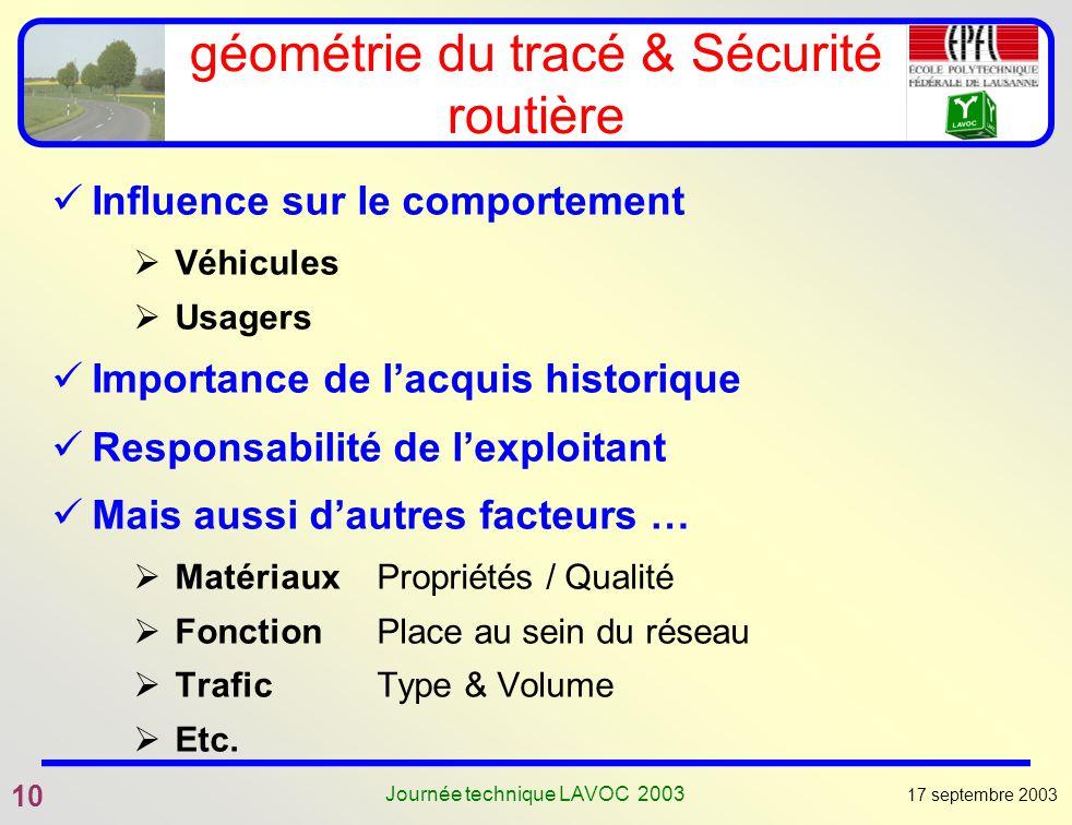 géométrie du tracé & Sécurité routière