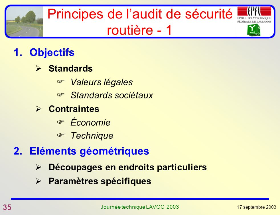 Principes de l'audit de sécurité routière - 1