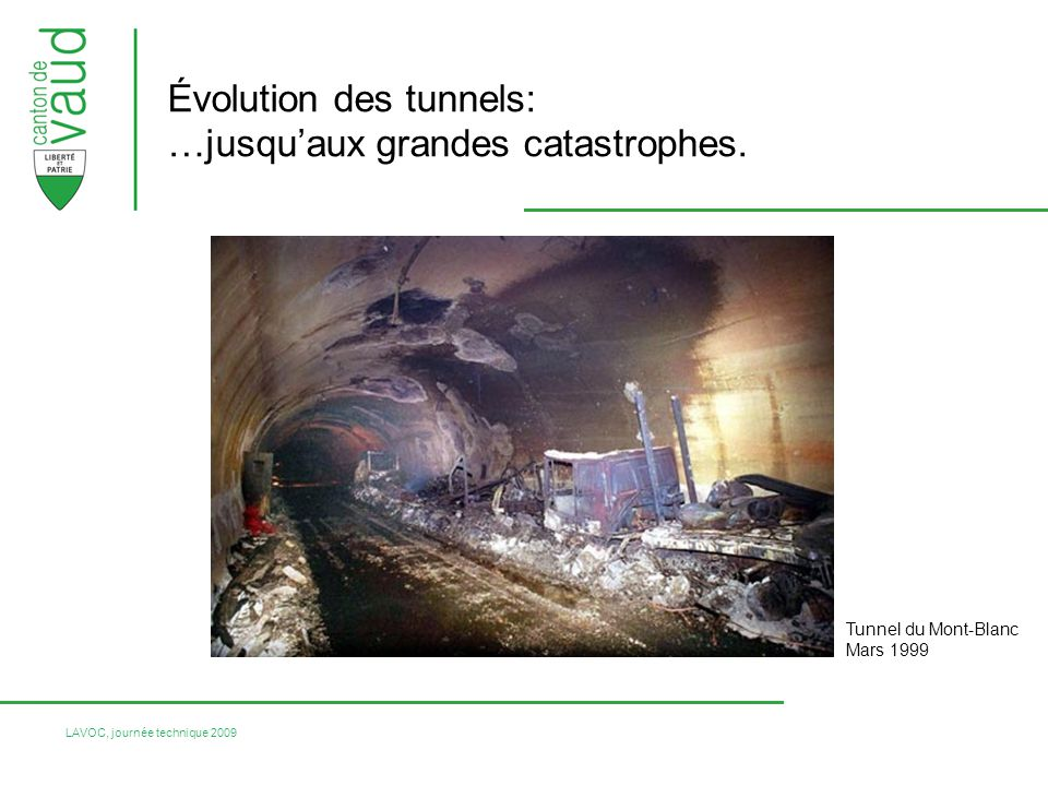 Évolution des tunnels: …jusqu'aux grandes catastrophes.