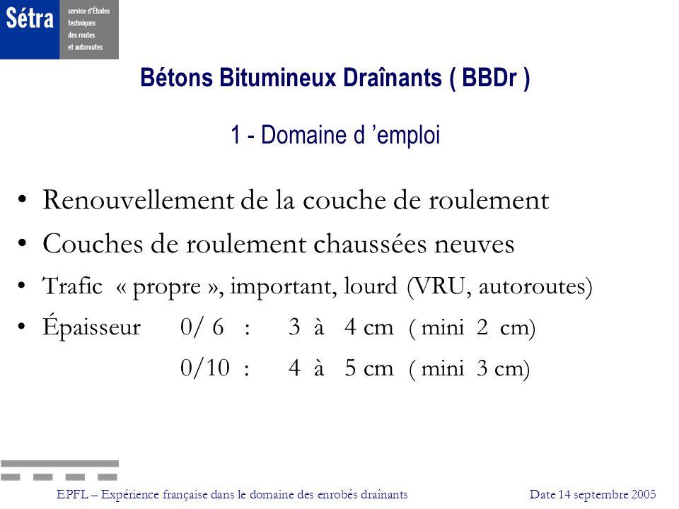 Bétons Bitumineux Draînants ( BBDr ) 1 - Domaine d 'emploi