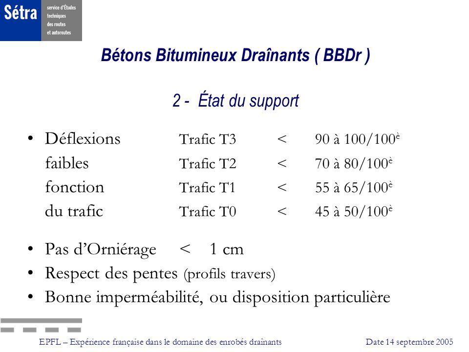 Bétons Bitumineux Draînants ( BBDr ) 2 - État du support