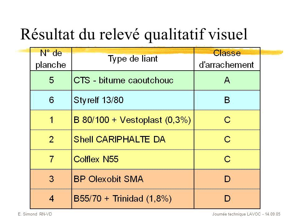 Résultat du relevé qualitatif visuel