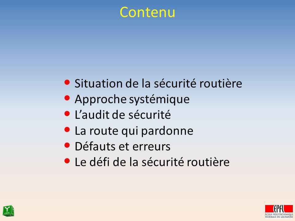 Contenu Situation de la sécurité routière Approche systémique