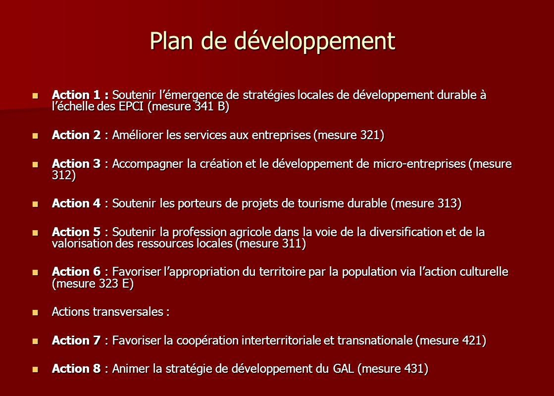 Plan de développement Action 1 : Soutenir l'émergence de stratégies locales de développement durable à l'échelle des EPCI (mesure 341 B)