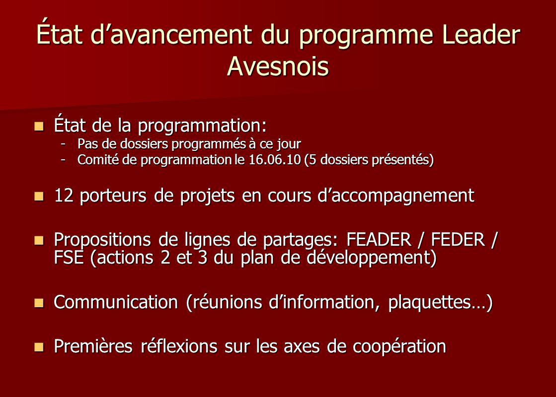 État d'avancement du programme Leader Avesnois
