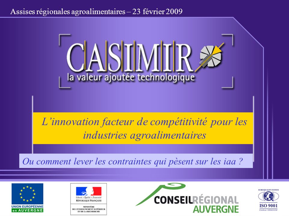 Assises régionales agroalimentaires – 23 février 2009